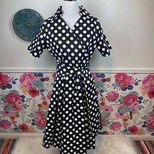 White & Black Polka Dot Faux Wrap Housewife 50s Dress Size XL